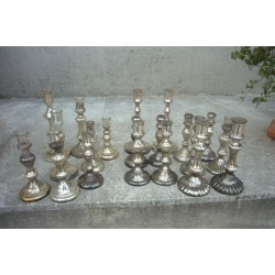 lot de bougeoirs en verre eglomise